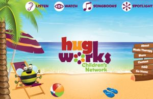 Hugworks Children's Network website home page, a cartoon beach scene with a large bee reclining in beach chair.
