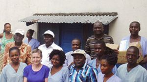 Kathy Griffith — the program manager for the Global Board of Global Ministries' Mother, Newborn, and Child Health program — with staff members of a United Methodist Clinic in Kananga, Central Congo.