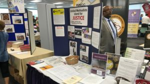 A display of Church and Society literature at the Western North Carolina Annual Conference.