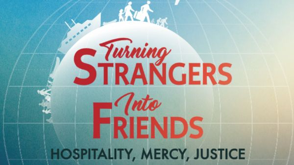 "Book cover of ""Turning strangers into friends: Hospitality, mercy, justice."""
