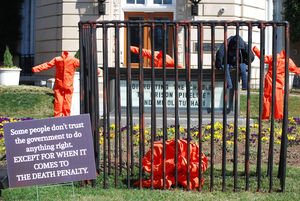An art installation outside the United Methodist Building highlighting the cradle to prison pipeline.