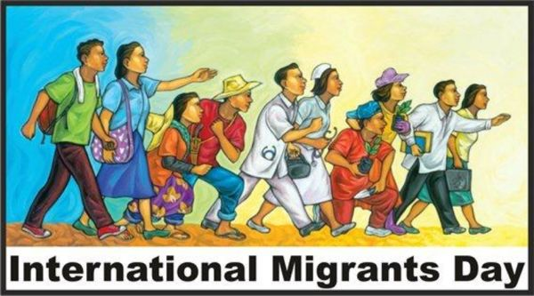 "A graphic image featuring several people all facing right and walking with the words ""International Migrants Day"" at the bottom."