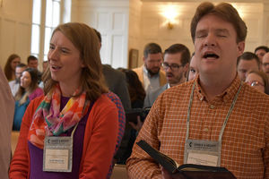 Participants in the 2018 Young Clergy Forum sing in worship.