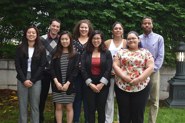 The 2018 Ethnic Young Adult Interns stand in front of the United Methodist Building in Washington, D.C.
