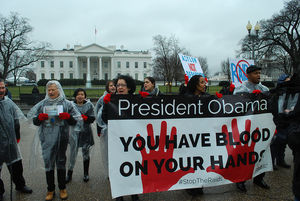 "Protesters wearing red gloves hold a sign that reads, ""President Obama: You have blood on your hands. #StopTheRaids"" outside of the White House."