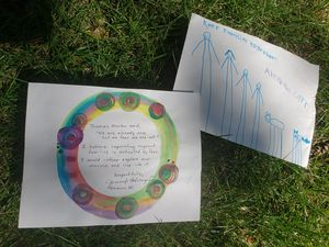 "Two hand drawn letters to members of Congress. The first is a a child's hand drawn stick figure family with the words, ""Keep families together! Abraham Carr."" 