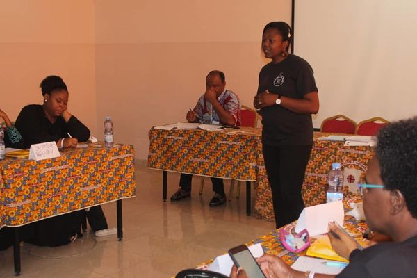 Olga Kangai leads a workshop on domestic violence and gender-based violence.