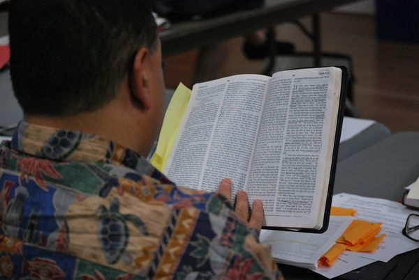 Image of person reading revising SP and reading bible