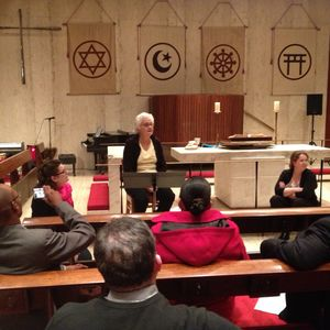 Person speaking in the chapel at the United Nations Church Center