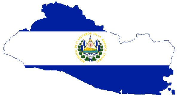Map of El Salvador filled in with flag