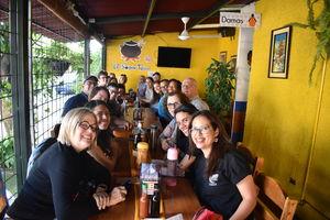 Seminar participants eat lunch