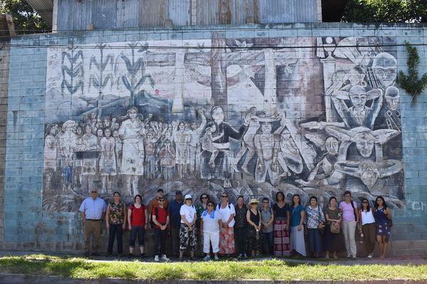 Group photo Romero mural