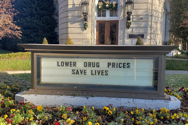 """The marquee outside the United Methodist Building in Washington, D.C., reads """"Lower drug prices save lives."""""""