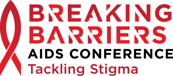 Logo for the Breaking Barriers AIDS Conference in red and black lettering with a red ribbon.