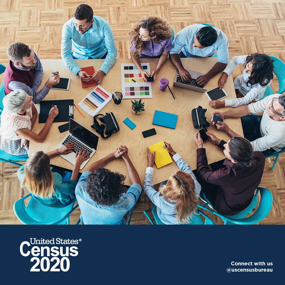 people at table - census 2020 social graphic