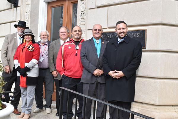 group of United Methodist and indigenous leaders outside United Methodist Building