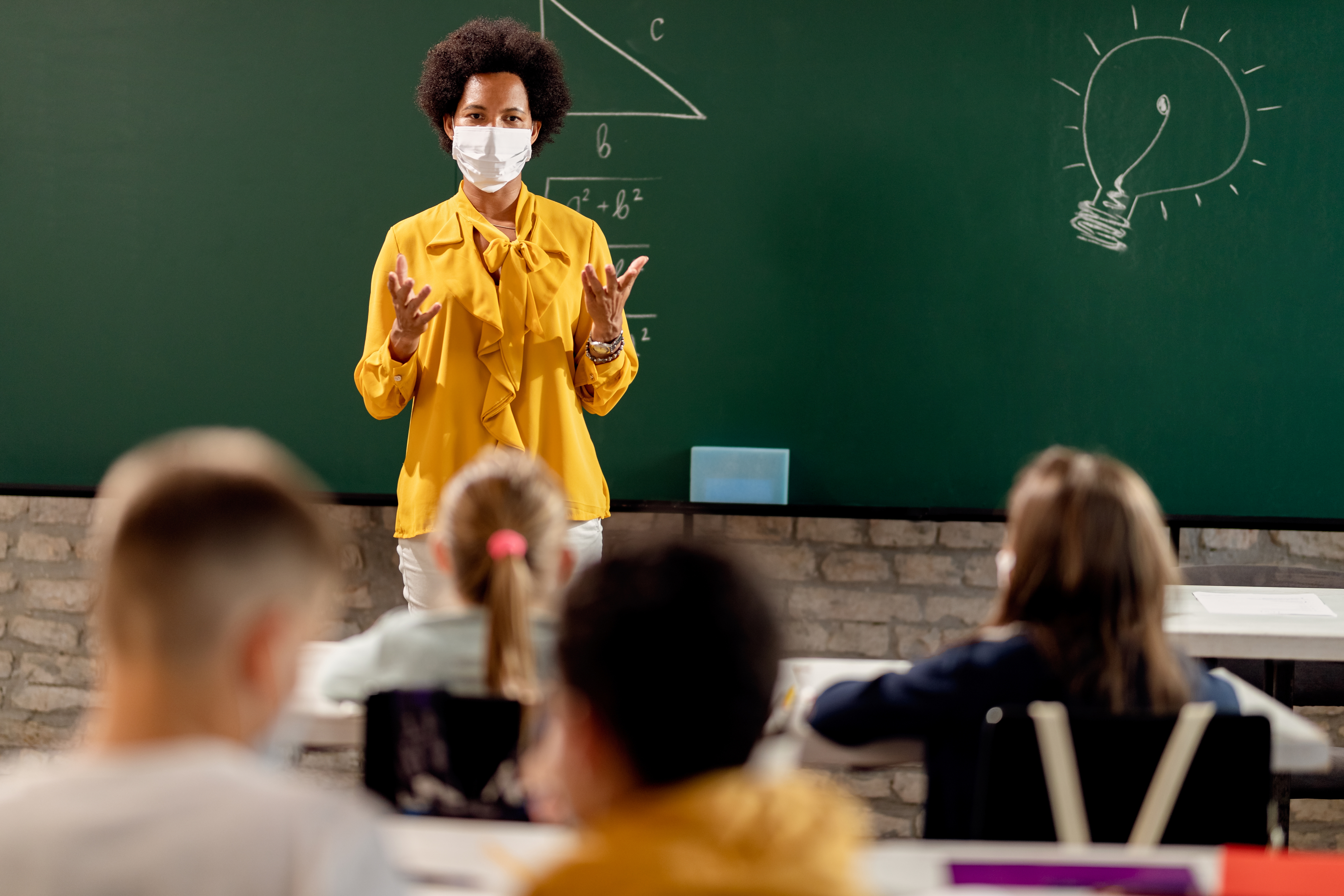 teacher wearing mask