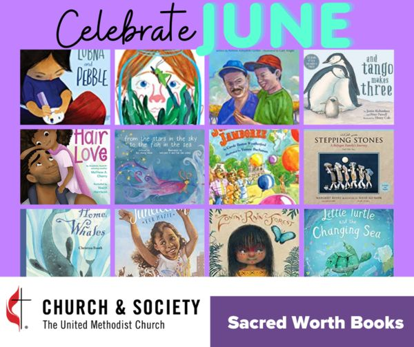 Images of children's book covers representing different observances in June