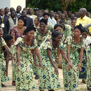 African women welcoming visitors with dance